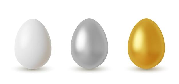 Realistic silver and golden glitter eggs