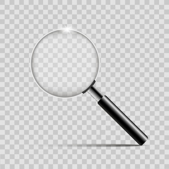 Realistic silver magnifier on transparent background