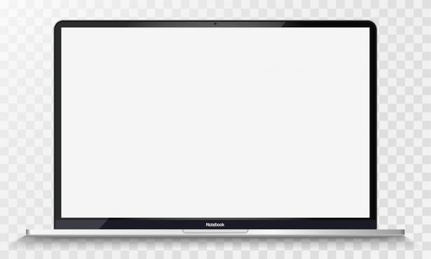 투명 스크린 절연 현실적인 실버 노트북입니다. 12 인치 노트북. 디스플레이를 엽니 다. 프로젝트, 프리젠 테이션에 사용할 수 있습니다. 빈 장치. 그룹과 레이어를 분리합니다. 쉽게 편집 가능한 벡터.