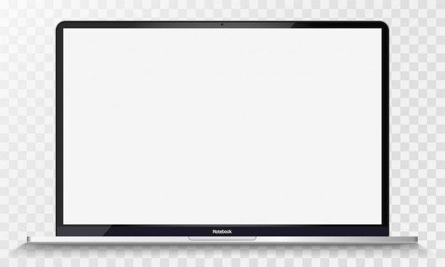 Realistic silver notebook with transparent screen isolated. 12 inch laptop. open display. can use for project, presentation. blank device  . separate groups and layers. easily editable vector.
