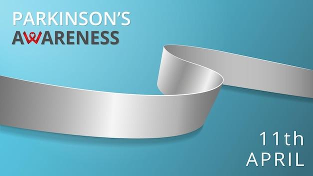 현실적인 실버 리본입니다. 파킨슨병 인식 개선의 달 포스터. 벡터 일러스트 레이 션. 세계 파킨슨병의 날 연대 개념. 청록색 배경입니다. 신경 질환 난독증 뇌암의 상징.