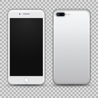 Realistic silver smartphone isolated on transparent background. front and back view