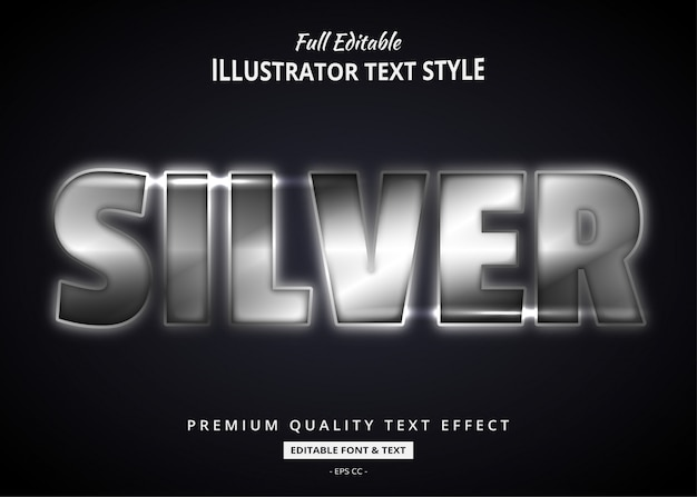 Realistic silver text style effect