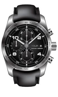 リアルなシルバーの時計時計クロノグラフレザーストラップブラックオンホワイトデザインクラシックラグジュアリー