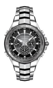 Realistic silver wrist watch