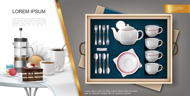 Realistic silverware and kitchenware concept with set of teapot plate forks spoons mugs and napkin holder tablecloth coffee cups cake on table  illustration
