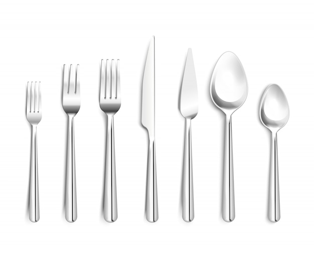 Realistic silverware top view