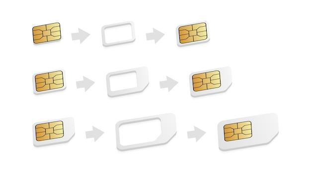 Realistic sim card adapters.