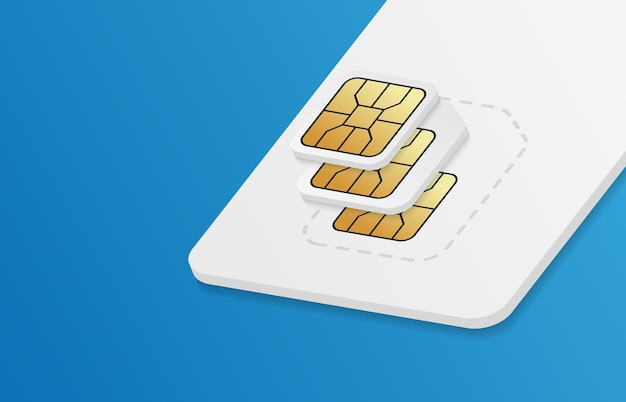 Realistic sim-card in different sizes