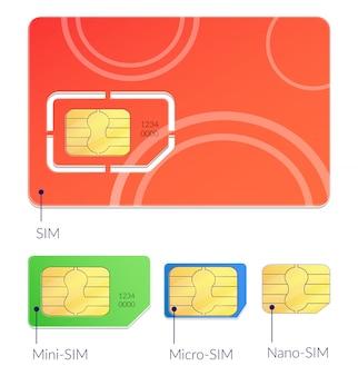 さまざまな種類のミニマイクロおよびナノsimイラストで設定された現実的なsimカードのアイコン
