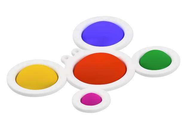 リアルでシンプルなカニ。 3d、カラー画像。