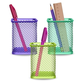 Realistic simple pencil, ruler and pens, office and stationery in the basket on white background,   illustration