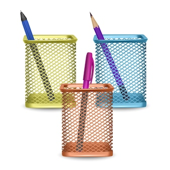 Realistic simple pencil and two pens, office and stationery in the basket on white background,   illustration