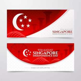 Realistic singapore national day banners set