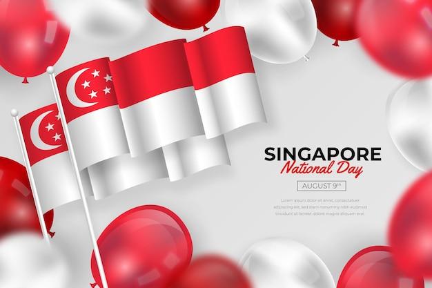 Realistic singapore national day illustration