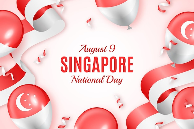 リアルなシンガポール建国記念日イラスト