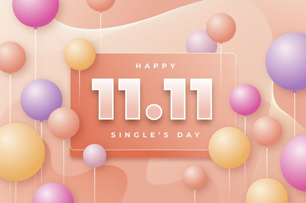 Realistic single's day background