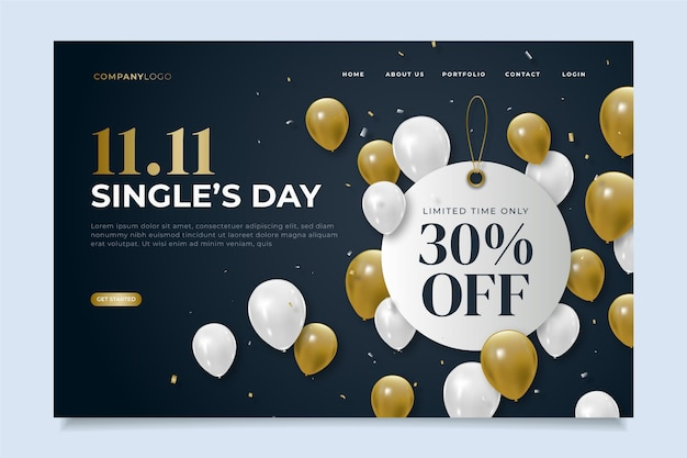 Realistic single's day landing page template