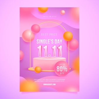 Realistic single's day vertical poster template
