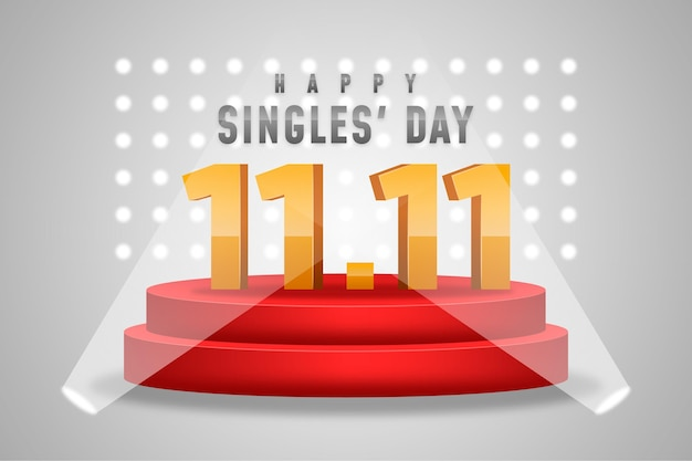 Realistic singles day concept