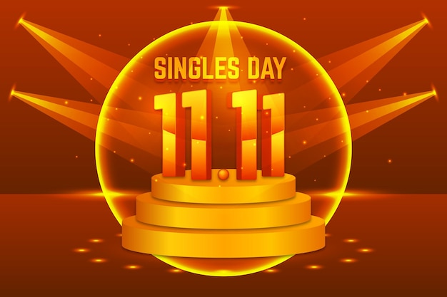 Realistic singles day holiday illustration with podium