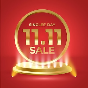 Realistic singles day holiday sale illustration