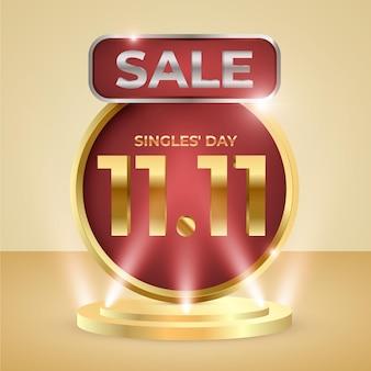 Реалистичная иллюстрация праздничных продаж дня одиночек