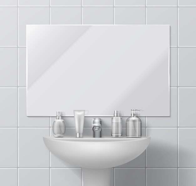 Realistic sink and mirror. bathroom or toilet interior with set of cosmetic containers and dispenser