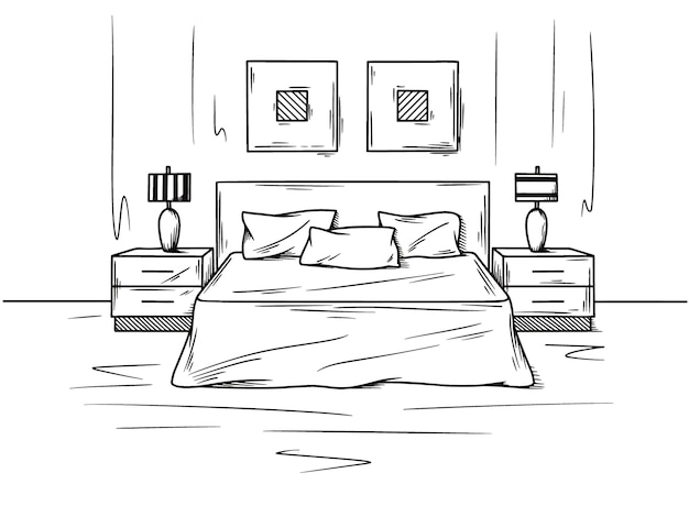 Realistic sketch of the bedroom. hand drawn sketch of interior.  illustration