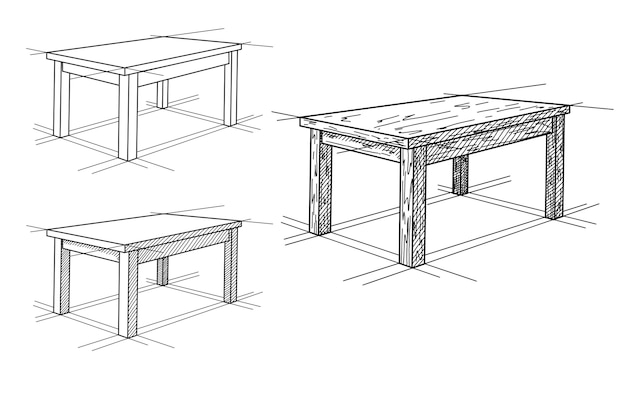 Realistic sketch of different tables in perspective. table set.  illustration