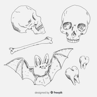 Realistic sketch halloween element collection