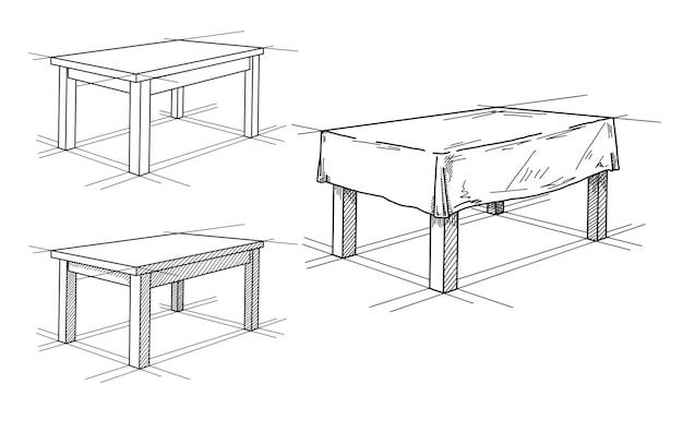 Реалистичный эскиз различных таблиц в перспективе. столовый сервиз. иллюстрация