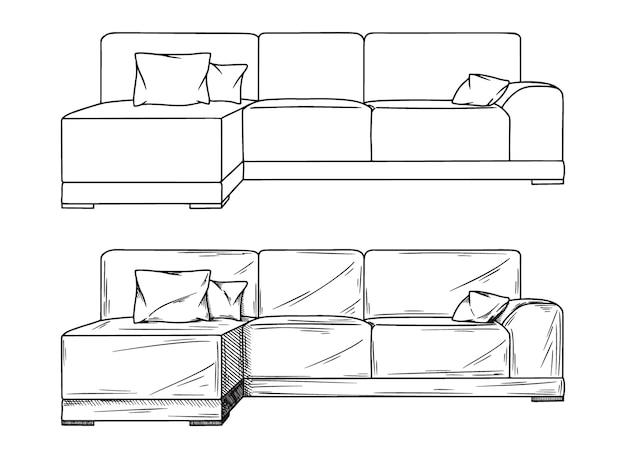 白い背景の上のソファのリアルなスケッチ。図