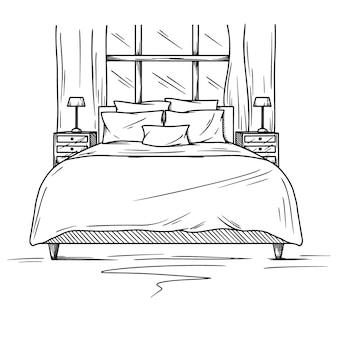 寝室のリアルなスケッチ。インテリアの手描きのスケッチ。図