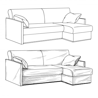 Realistic sketch of sofas isolated on white background.