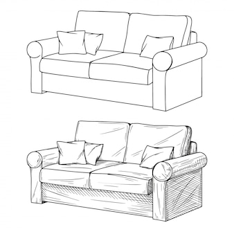 Realistic sketch of sofas isolated