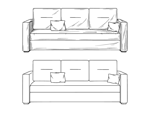 Realistic sketch of sofas  on white background.  illustration Premium Vector