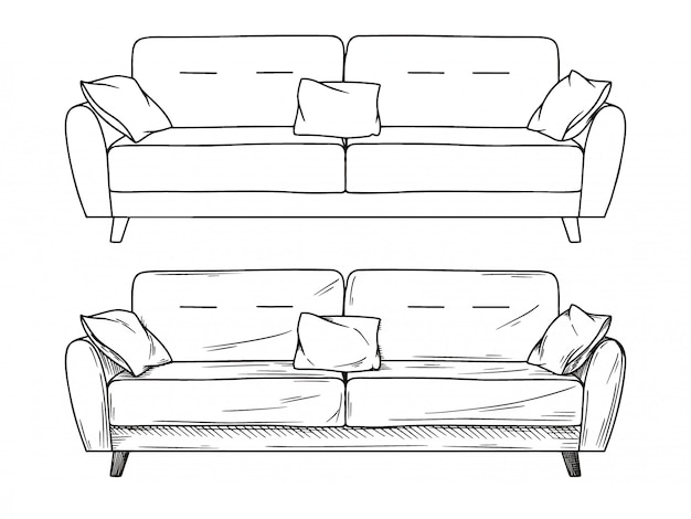 Realistic sketch of sofas