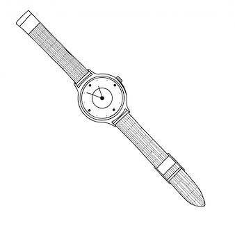 Realistic sketch of a watch