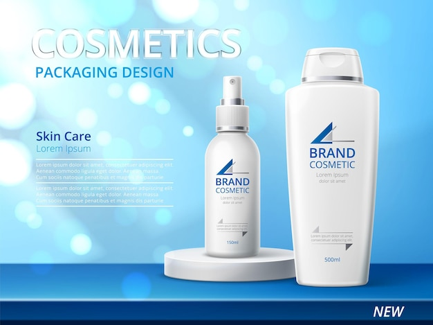 Realistic skin care product poster. 3d cosmetic bottles on glitter shiny background, advertising banner, beauty branded pack. white skincare design for promotion vector concept
