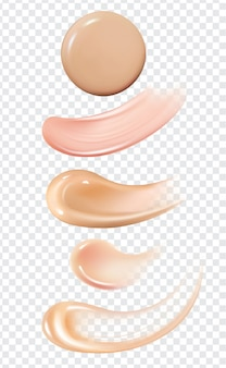 Realistic skin foundation smear brush strokes set