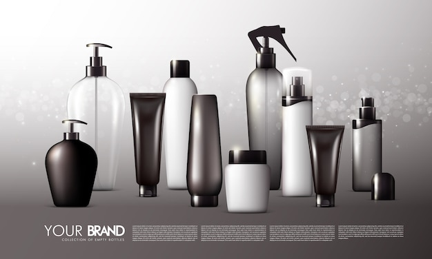 Realistic skincare packages set