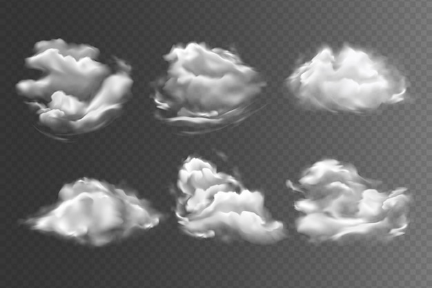 Реалистичные небесные облака на прозрачном фоне