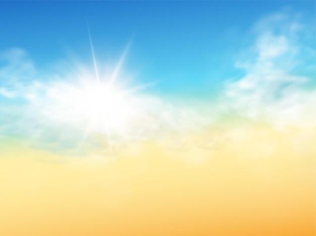 Реалистичный шаблон неба с прозрачным облаком и солнечным лучом