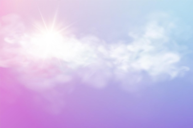 透明な雲と太陽光線でリアルな空のテンプレート
