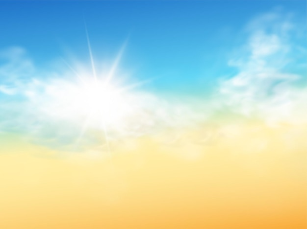 Realistic sky template with transparent cloud and sun ray