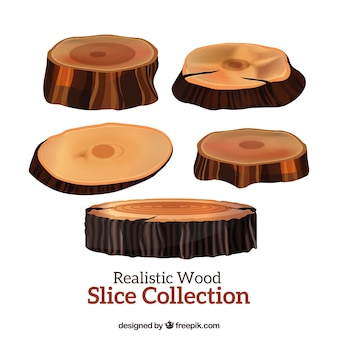 Realistic slices wooden