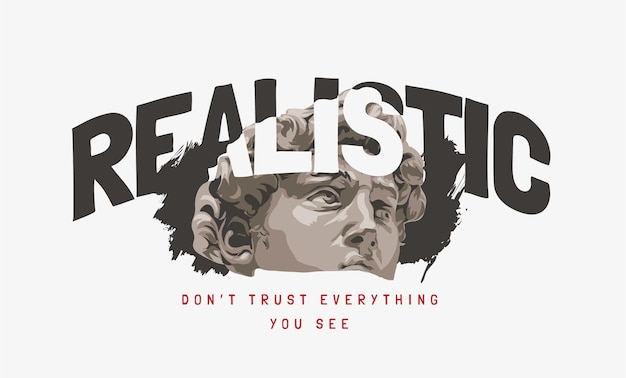 Realistic slogan with black and white antique statue head illustration