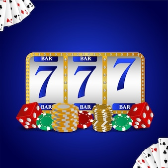 Realistic slot machine with gold coin and casino chips
