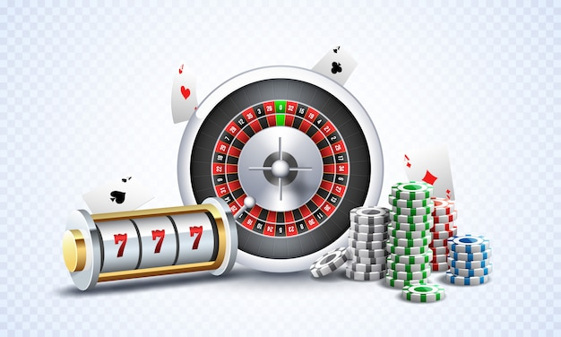 Realistic slot machine with roulette wheel